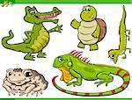 Cartoon Illustration of Funny Reptiles and Amphibians Set