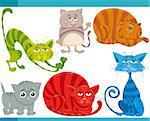Cartoon Illustration of Funny Cats or Kittens Pets Set
