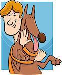 Cartoon Illustration of Man Giving a Hug to his Dog
