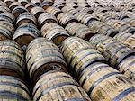 View of wooden barrels