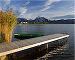 Wooden Jetty, Hopfen am See, Lake Hopfensee, Bavaria, Germany