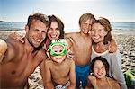 Family taking self portrait on beach