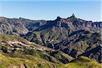 Mountain villages beneath Roque Nublo, Gran Canaria, Las Palmas, Canary Islands
