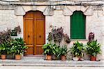 Houses along an alley of the picturesque mountain village Valldemossa, Tramuntana Mountains, Majorca, Balearic Islands, Spain