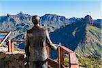 Close-up of sculpture of Miguel de Unamuno (a spanish essayist, novelist, poet, playwright and philosopher) at Balcony de Unamuno, Artenara, a view point for Roque Nublo and Roque Bentayga, Gran Canaria, Las Palmas, Canary Islands