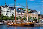Historic tallship docked at waterfront at North Harbour, Helsinki, Finland