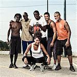 Group portrait of a street basketball team