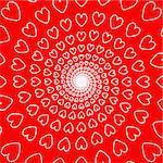 Design red heart spiral movement background. Valentines Day card. Vector-art illustration. No gradient
