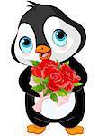 Illustration of Cute Valentine day penguin