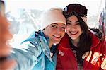 Friends in ski lift taking selfie