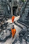 Cambodia, Siem Reap, Angkor Wat complex. Monks inside Ta Som temple (MR)