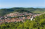 Europe, Croatia, Dalmatia, Korcula Island, elevated view of Blato town