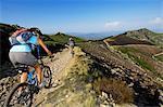 Mountain biker, Sommet de Mejan, Ardeche, Rhones-Alpes, France MR
