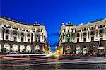 Piazza della Repubblica at twilight looking down towards Via Nazionale, Trevi, Rome, Lazio, Italy.