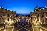 The Piazza del Campidoglio at twilight with the equestrian statue of Marcus Aurelius in the centre , Rome, Lazio, Italy.