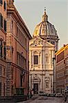 The basilica church of Sant' Andrea della Valle at sunrise in Parione, Rome, Lazio, Italy.