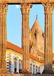Portugal, Alentejo, Evora Roman temple of Diana and Se Cathedral