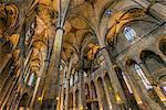 Interior of Santa Maria del Mar church, Born district, Barcelona, Catalonia, Spain