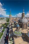 Top view of Basilica de Nuestra Senora del Pilar church and city skyline, Zaragoza, Aragon, Spain