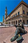 Plaza del Pilar square with Ayuntamiento building and Basilica de Nuestra Senora del Pilar, Zaragoza, Aragon, Spain