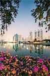 Thailand, Bangkok. View of the city from Benjakiti park at dusk