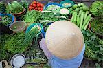 Woman vendor selling vegetables at market, Hoi An (UNESCO World Heritage Site), Quang Ham, Vietnam