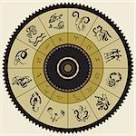 Horoscope circle.  Zodiac Stars sign. Vector Illustration.