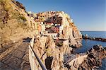 Manarola at sunset, Cinque Terre, UNESCO World Heritage Site, Rivera di Levante, Provinz La Spazia, Liguria, Italy, Europe