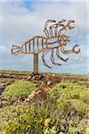 Crab sculpture as the symbol of the Jameos del Agua, a creation of Cesar Manrique, Arrieta, Lanzarote, Las Palmas, Canary Islands