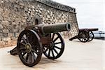 Cannons in front of the Castillo San Gabriel, Islote de los Ingleses, Arrecife, Lanzarote, Las Palmas, Canary Islands