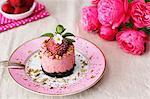 Strawberry-yogurt cake with a chocolate base