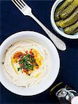 Hummus and gherkins