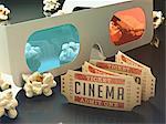 3d glasses, cinema tickets and popcorn, computer illustration.
