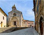 Collegiate Church of San Quirico with Palazzo Chigi Zondadari in the background, San Quirico d'Orcia, Val d'Orcia, Siena, Tuscany, Italy