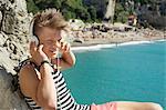 Teenager holiday headphones listening music