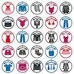 Clothing symbols, isolated vector clothing.
