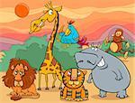 Cartoon Illustration of Scene with Wild Safari Animals Characters Group
