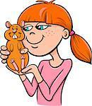 Cartoon Illustration of Teen Girl with Hamster Pet