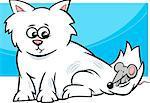 Cartoon Illustration of Cute Kitten with Little Mouse