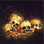 Skulls And Bones as Conceptual Spooky Horror Halloween image.