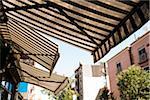 Awnings hanging over Restaurant, Williamsburg, Brooklyn, New York City, New York, USA