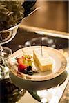 Close-up of Slice of Cake with Fresh Fruit at Wedding Reception