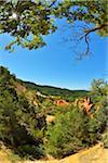 Ocher Breakage with Sun in Summer, Le Colorado Provencal, Rustrel, Provence, Vaucluse, France