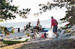 Family having meal on beach