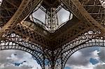Low angle symmetrical view of Eiffel Tower, Paris, France