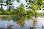 Lake in Spring, Park Schonbusch, Aschaffenburg, Lower Franconia, Bavaria, Germany