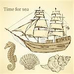 Sketch sea set in vintage style, vector