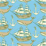 Sketch sea vintage style, vector seamless pattern