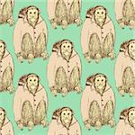 Sketch fancy uakari in vintage style, vector seamless pattern