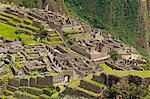 "South America, Peru, Cuzco region, Urubamba Province, Unesco World heritage since 1983, Machu Picchu (""old mountain"") aerial view"